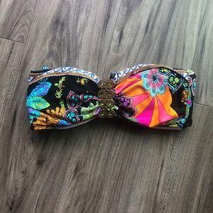 Trina Turk Black MultiColored Strapless BIkini Top